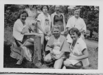 Cedar Hill Girl Scout Camp, 6th grade   kneeling:  Janet Downs, Gail Achstetter  seated:  Judith Clark  standing: don't