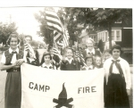 Memorial Day Parade, circa 1952 (holding banner) left: Mary Bellizia, right Donna Jamgochian  Submitted by Mary Bellizia