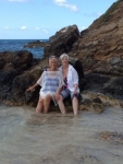 JoAnn & Peg during the morning beach walk in St Croix